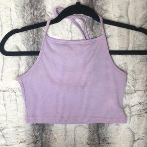 Boohoo Halter Neck Purple Crop Top